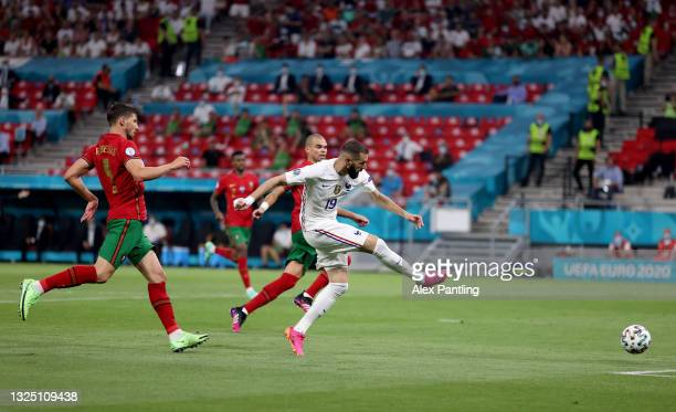 Karim Benzema of France scores their side's second goal during the UEFA Euro 2020 Championship Group F match between Portugal and France at Puskas...