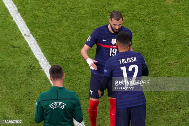 Karim Benzema of France, Tolisso of France during the UEFA Euro 2020 match between France and Germany at Allianz Arena on June 15, 2021 in Munich,...