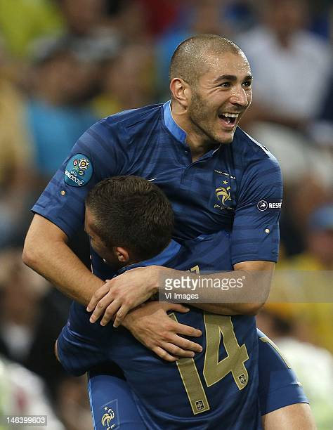 Karim Benzema of FranceJeremy Menez of France celebrate during the UEFA EURO 2012 match between Ukraine and France at the Donbas Arena on June 15...