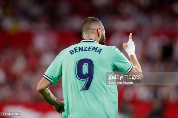 Karim Benzema of Real Madrid Celebrates 01 during the La Liga Santander match between Sevilla v Real Madrid at the Estadio Ramon Sanchez Pizjuan on...