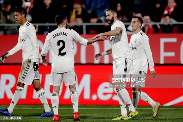 Karim Benzema of Real Madrid celebrates 02 with Dani Carvajal of Real Madrid during the Spanish Copa del Rey match between Girona v Real Madrid at...