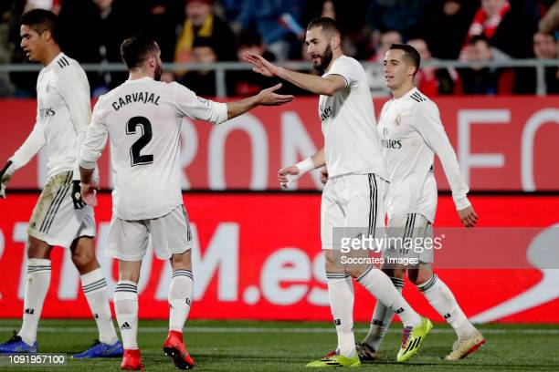 Karim Benzema of Real Madrid celebrates 0-2 with Dani Carvajal of Real Madrid during the Spanish Copa del Rey match between Girona v Real Madrid at...