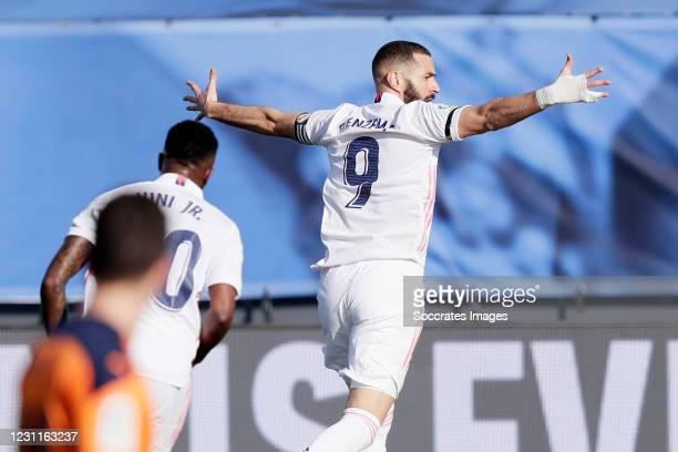 Karim Benzema of Real Madrid Celebrates 1-0 during the La Liga Santander match between Real Madrid v Valencia at the Estadio Alfredo Di Stefano on...