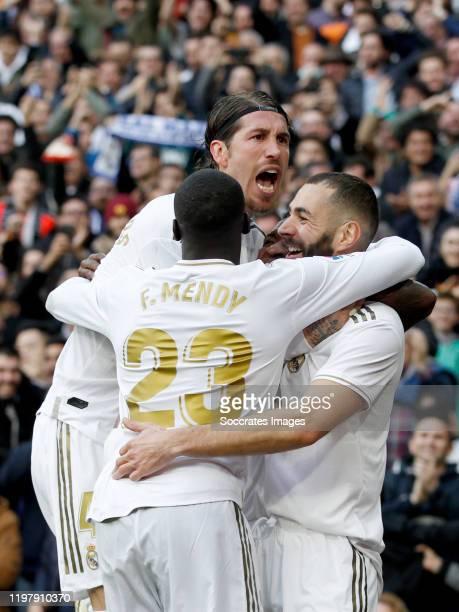 Karim Benzema of Real Madrid celebrates 10 with Ferland Mendy of Real Madrid Sergio Ramos of Real Madrid during the La Liga Santander match between...
