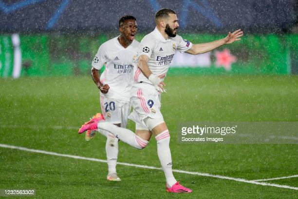 Karim Benzema of Real Madrid Celebrates 1-1 during the UEFA Champions League match between Real Madrid v Chelsea at the Estadio Alfredo Di Stefano on...
