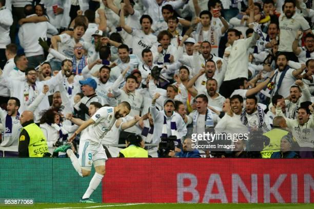 Karim Benzema of Real Madrid celebrates 21 during the UEFA Champions League match between Real Madrid v Bayern Munchen at the Santiago Bernabeu on...