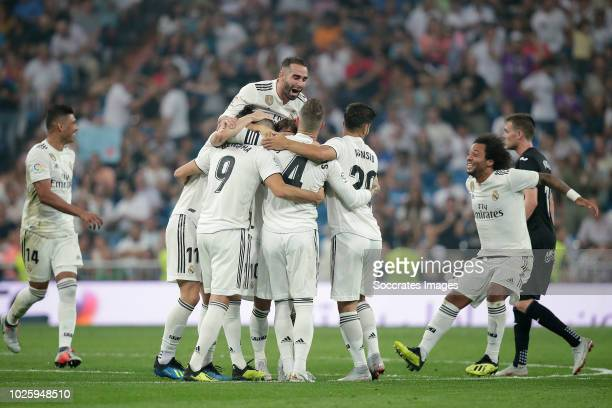 Karim Benzema of Real Madrid celebrates 21 with Sergio Ramos of Real Madrid Dani Carvajal of Real Madrid Marco Asensio of Real Madrid Marcelo of Real...