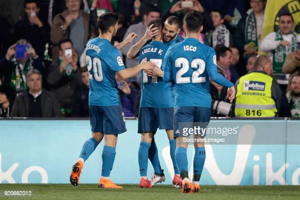 Karim Benzema of Real Madrid celebrates 35 with Marco Asensio of Real Madrid Lucas Vazquez of Real Madrid Isco of Real Madrid during the La Liga...