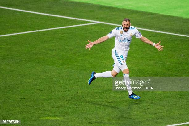 Karim Benzema of Real Madrid celebrates a goal during the UEFA Champions League final between Real Madrid and Liverpool on May 26 2018 in Kiev Ukraine