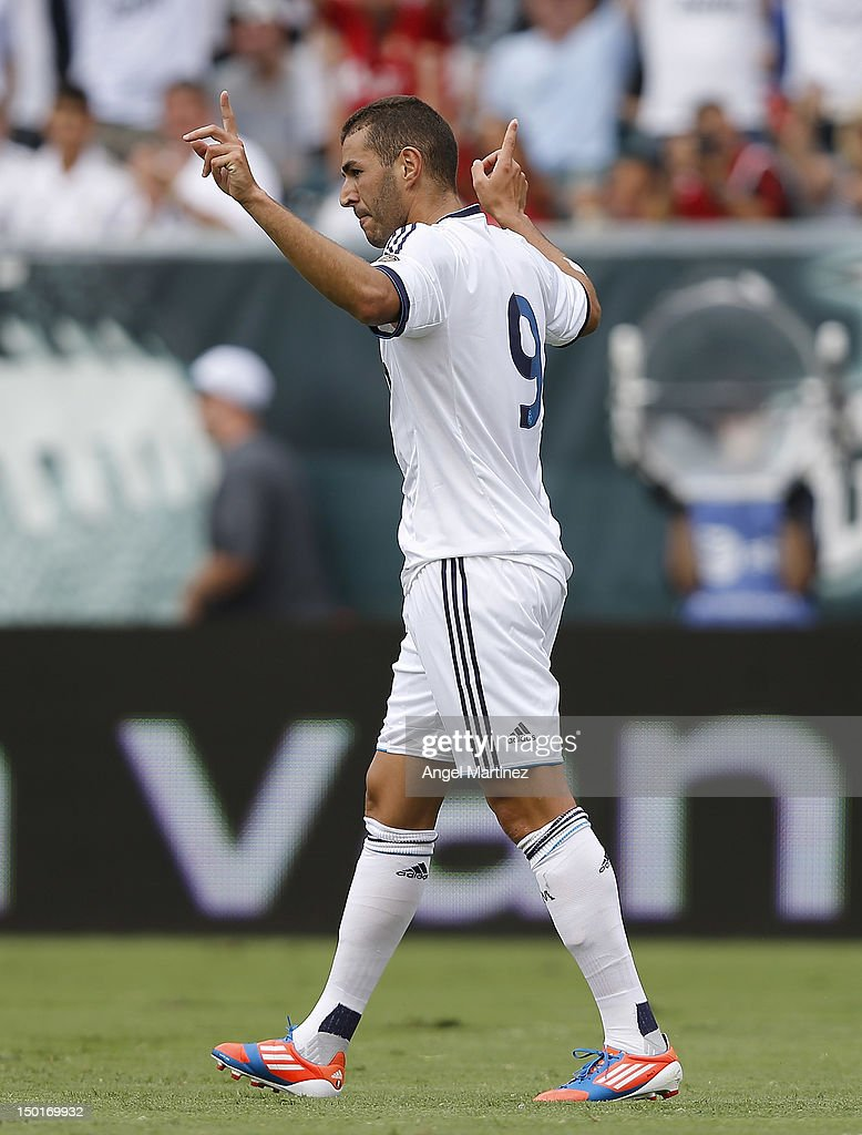 Karim Benzema of Real Madrid celebrates afte scoring during a World Football Challenge match between Celtic and Real Madrid at at Lincoln Financial Field on August 11, 2012 in Philadelphia, Pennsylvania.