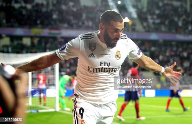 Karim Benzema of Real Madrid celebrates after he scores his sides first goal during the UEFA Super Cup between Real Madrid and Atletico Madrid at...