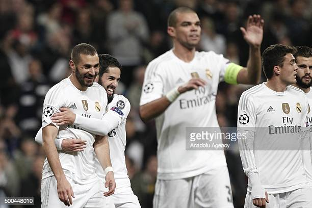 Karim Benzema of Real Madrid celebrates after scoring a goal during the UEFA Champions League Group A match between Real Madrid CF and Malmo FF at...