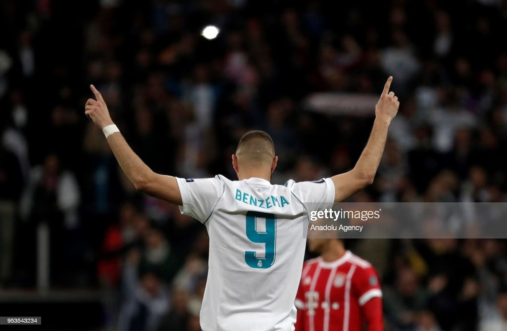 Karim Benzema of Real Madrid celebrates after scoring a goal during the UEFA Champions League semi final second leg match between Real Madrid and FC Bayern Munich at the Santiago Bernabeu Stadium in Madrid, Spain on May 1, 2018.