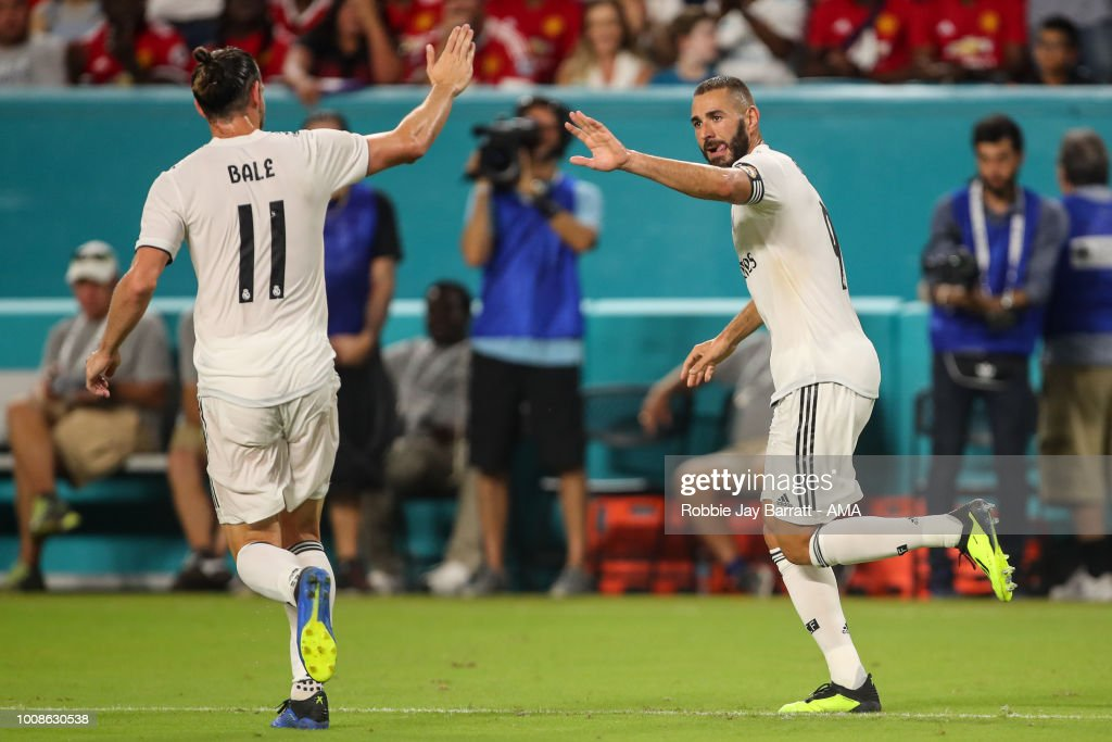Karim Benzema of Real Madrid celebrates after scoring a goal to make it 2-1 during the International Champions Cup 2018 fixture between Manchester United v Real Madrid at Hard Rock Stadium on July 31, 2018 in Miami, Florida.