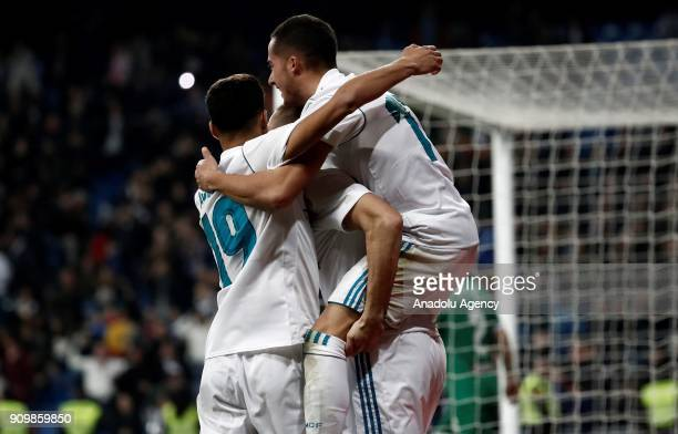 Karim Benzema of Real Madrid celebrates after scoring a goal with his team mates Lucas Vazquez and Achraf Hakimi during the Copa del Rey quarter...