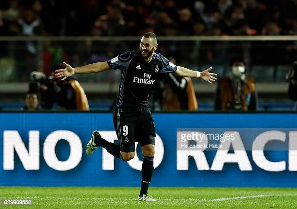 Karim Benzema of Real Madrid celebrates after scoring during the FIFA Club World Cup semi final match between Club America and Real Madrid at...