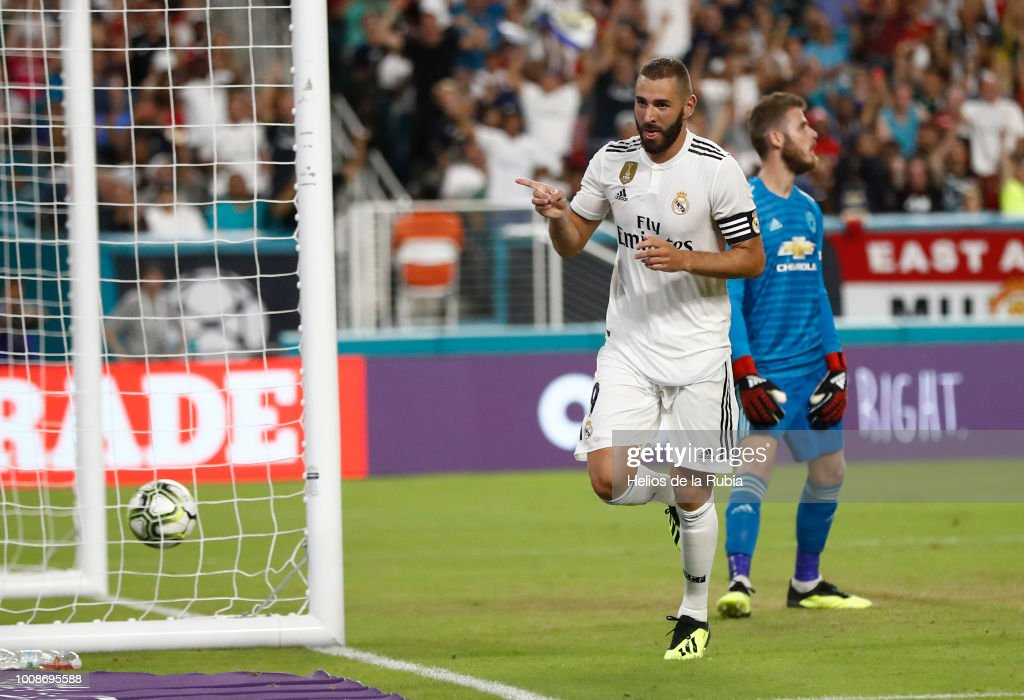Karim Benzema of Real Madrid celebrates after scoring during the International Champions Cup 2018 match between Manchester United and Real Madrid at Hard Rock Stadium on July 31, 2018 in Miami, Florida.