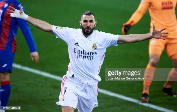 Karim Benzema of Real Madrid celebrates after scoring goal during the La Liga Santander match between SD Eibar and Real Madrid at Estadio Municipal...