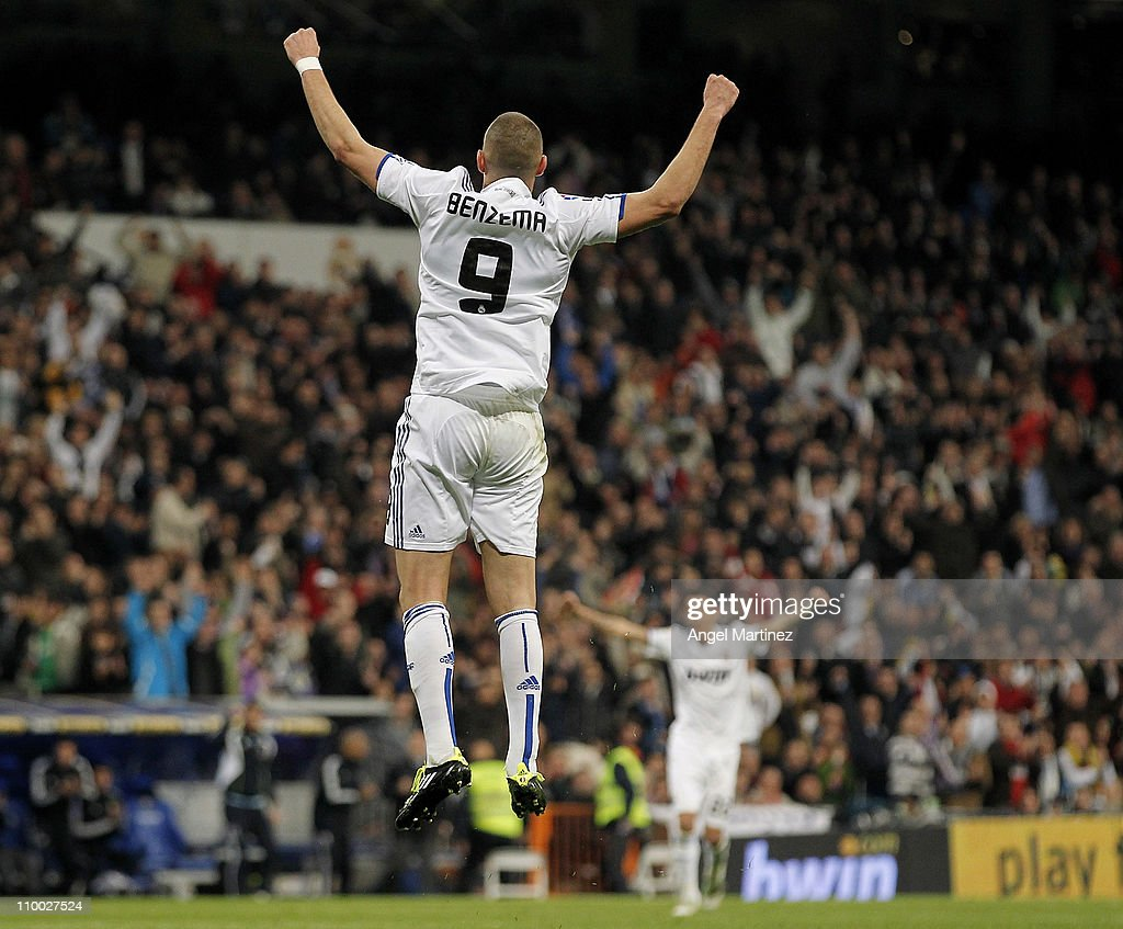 Karim Benzema of Real Madrid celebrates after scoring his side second goal during the La Liga match between Real Madrid and Hercules at Estadio Santiago Bernabeu on March 12, 2011 in Madrid, Spain.