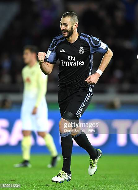Karim Benzema of Real Madrid celebrates after scoring his sides first goal during the FIFA Club World Cup Semi Final match between Club America and...