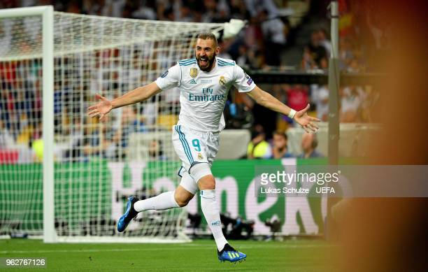 Karim Benzema of Real Madrid celebrates after scoring his sides first goal during the UEFA Champions League Final between Real Madrid and Liverpool...