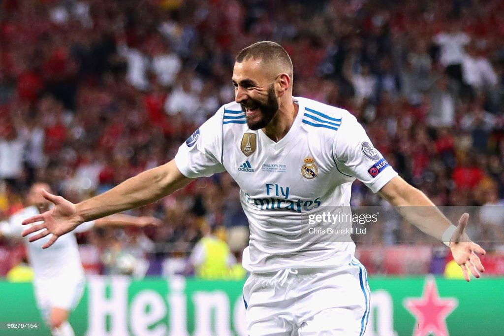 Karim Benzema of Real Madrid celebrates after scoring his sides first goal during the UEFA Champions League final between Real Madrid and Liverpool at NSC Olimpiyskiy Stadium on May 26, 2018 in Kiev, Ukraine.
