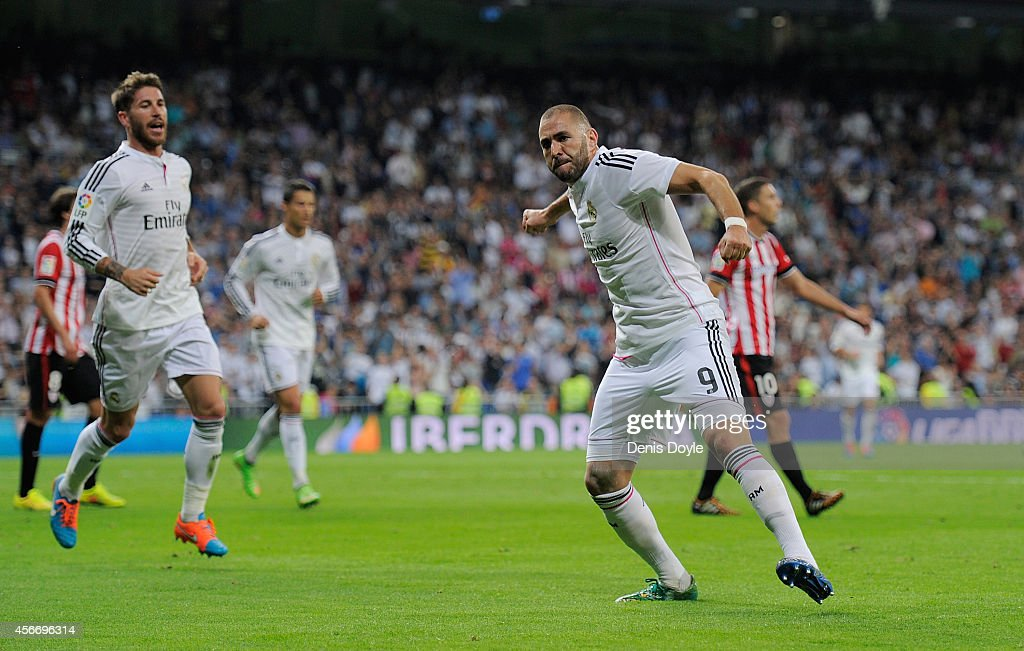Karim Benzema of Real Madrid celebrates after scoring his team's 2nd goal during the La Liga match between Real Madrid CF and Athletic Club at Estadio Santiago Bernabeu on October 5, 2014 in Madrid, Spain.