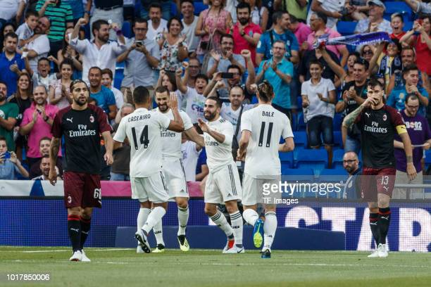 Karim Benzema of Real Madrid celebrates after scoring his team`s first goal with Dani Carvajal Casemiro of Real Madrid and Gareth Bale of Real Madrid...