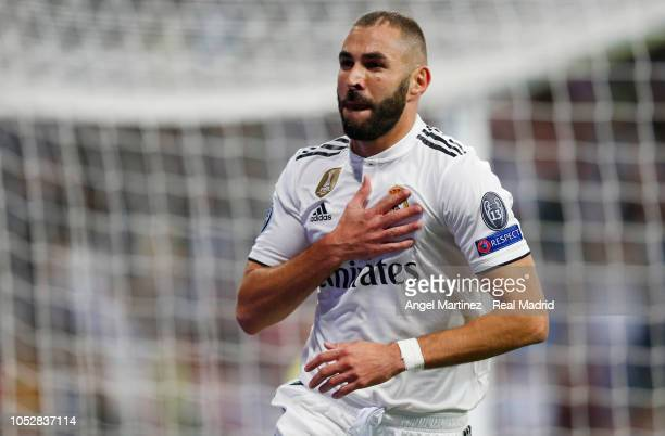 Karim Benzema of Real Madrid celebrates after scoring his team's first goal during the Group G match of the UEFA Champions League between Real Madrid...