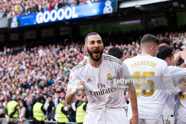 Karim Benzema of Real Madrid celebrates after scoring his team's first goal during the Liga match between Real Madrid CF and Club Atletico de Madrid...