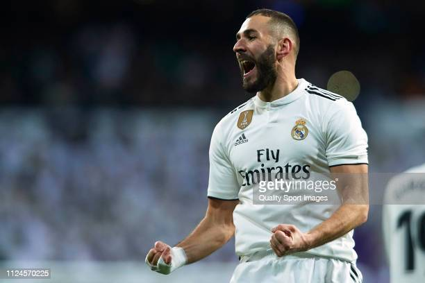 Karim Benzema of Real Madrid celebrates after scoring his team's fouth goal during the Copa del Rey Quarter Final first leg match between Real Madrid...