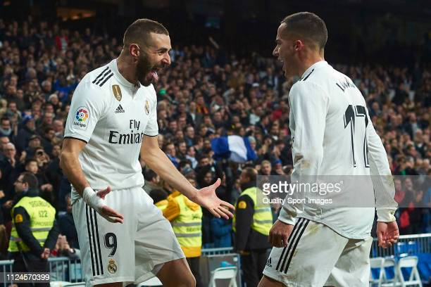 Karim Benzema of Real Madrid celebrates after scoring his team's fouth goal with Lucas Vazquez during the Copa del Rey Quarter Final first leg match...