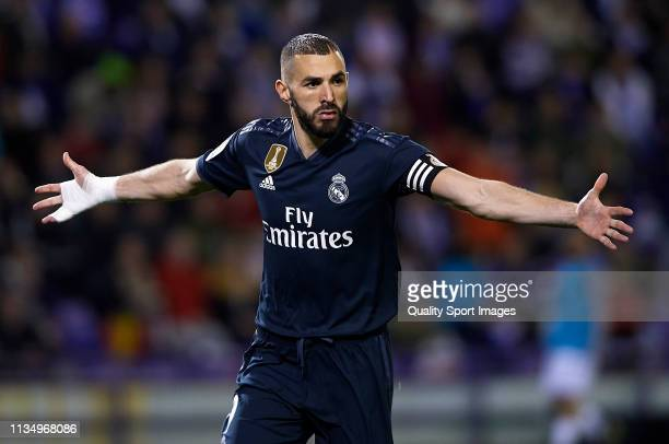 Karim Benzema of Real Madrid celebrates after scoring his team's second goal during the La Liga match between Real Valladolid CF and Real Madrid CF...