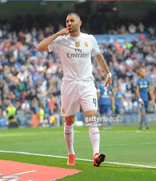 Karim Benzema of Real Madrid celebrates after scoring his team's opening goal during the La Liga match between Real Madrid CF and Getafe CF at...