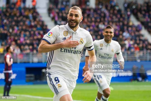 Karim Benzema of Real Madrid celebrates after scoring his team's second goal during the La Liga match between SD Eibar and Real Madrid at Ipurua...