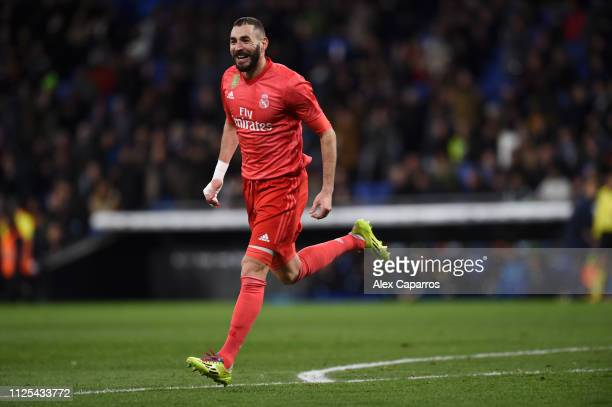 Karim Benzema of Real Madrid celebrates after scoring his team's third goal during the La Liga match between RCD Espanyol and Real Madrid CF at RCDE...