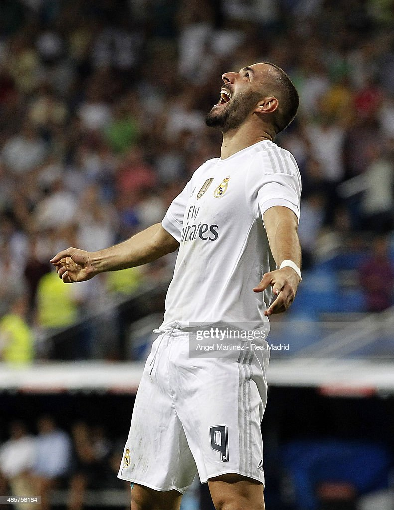 Karim Benzema of Real Madrid celebrates after scoring his team's third goal during the La Liga match between Real Madrid CF and Real Betis Balompie at Estadio Santiago Bernabeu on August 29, 2015 in Madrid, Spain.