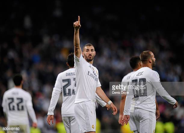 Karim Benzema of Real Madrid celebrates after scoring Real's 8th goal during the UEFA Champions League Group A match between Real Madrid CF and Malmo...