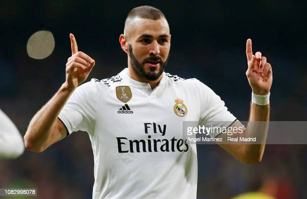 Karim Benzema of Real Madrid celebrates after scoring the opening goal during the La Liga match between Real Madrid CF and Rayo Vallecano de Madrid...