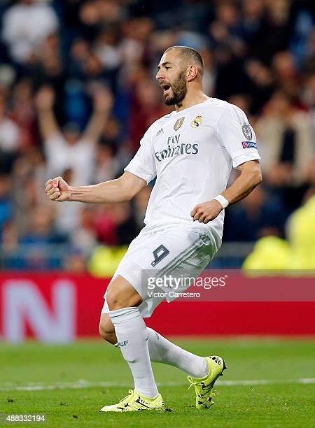 Karim Benzema of Real Madrid celebrates after scoring the opening goal during the UEFA Champions League Group A match between Real Madrid CF and FC...