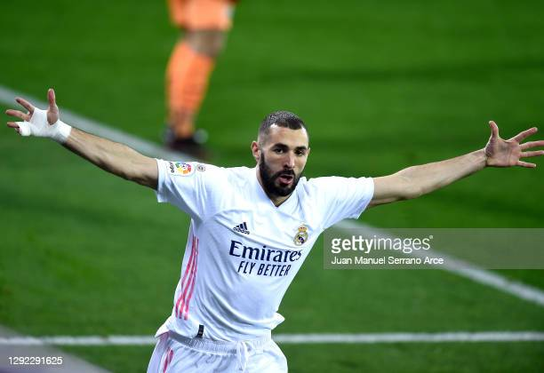Karim Benzema of Real Madrid celebrates after scoring their sides first goal during the La Liga Santander match between SD Eibar and Real Madrid at...