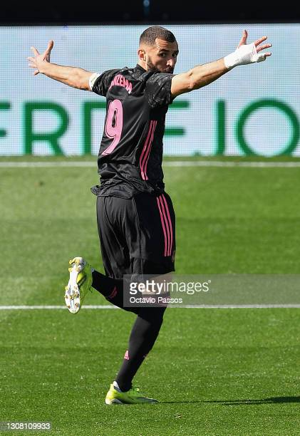 Karim Benzema of Real Madrid celebrates after scoring their team's first goal during the La Liga Santander match between RC Celta and Real Madrid at...