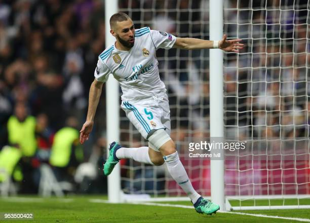 Karim Benzema of Real Madrid celebrates as he scores his sides second goal during the UEFA Champions League Semi Final Second Leg match between Real...