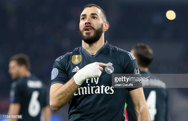 Karim Benzema of Real Madrid celebrates his goal during the UEFA Champions League Round of 16 first leg match between AFC Ajax Amsterdam and Real...