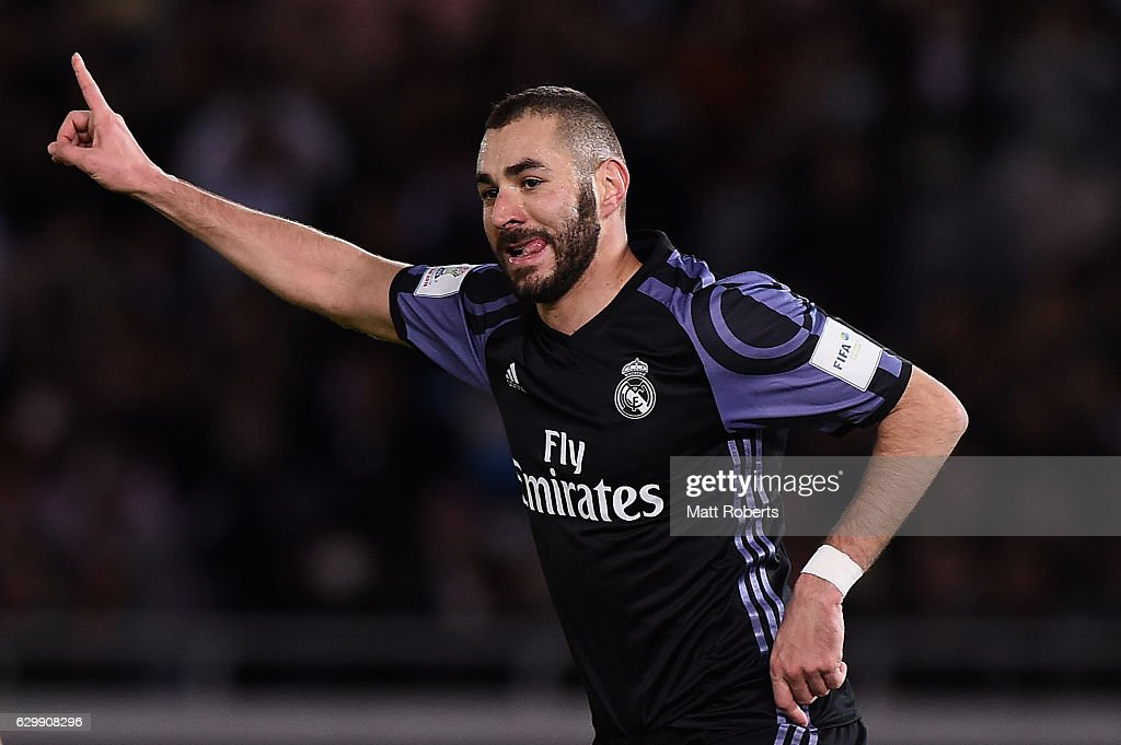 Karim Benzema of Real Madrid celebrates kicking a goal during the FIFA Club World Cup Japan semi-final match between Club America v Real Madrid at International Stadium Yokohama on December 15, 2016 in Yokohama, Japan.