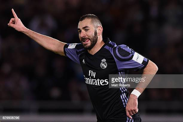 Karim Benzema of Real Madrid celebrates kicking a goal during the FIFA Club World Cup Japan semifinal match between Club America v Real Madrid at...