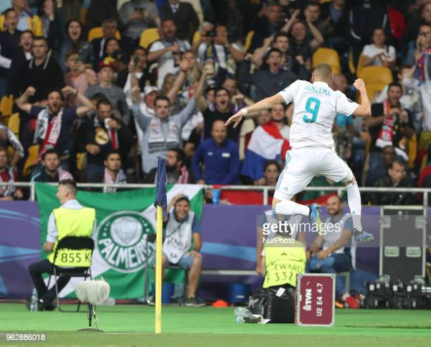 Karim Benzema of Real Madrid celebrates scoring a goal during the UEFA Champions League Final between Real Madrid and Liverpool at NSC Olimpiyskiy...