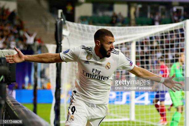 Karim Benzema of Real Madrid celebrates scoring his sides first goal during the UEFA Super Cup between Real Madrid and Atletico Madrid at Lillekula...