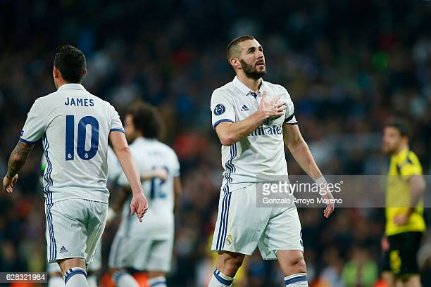 Karim Benzema of Real Madrid celebrates scoring his sides first goal during the UEFA Champions League Group F match between Real Madrid CF and...