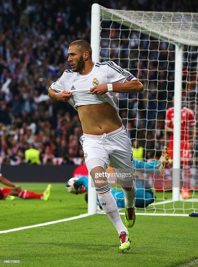 Karim Benzema of Real Madrid celebrates scoring the opening goal during the UEFA Champions League semi-final first leg match between Real Madrid and FC Bayern Muenchen at the Estadio Santiago Bernabeu on April 23, 2014 in Madrid, Spain.